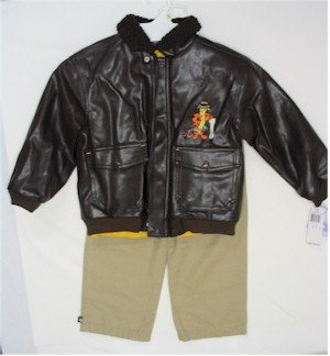4T Tigger leather jacket, yellow shirt, khaki colored pants
