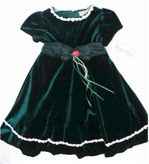 size 5 green velvet-like dress