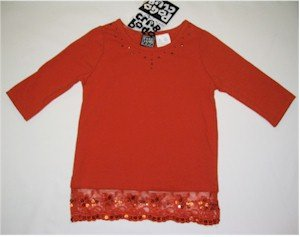 size 6 orange 3/4 length sleeve shirt