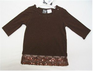size 6 brown 3/4 length sleeve shirt