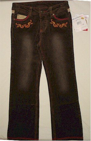 size 10 Mary-Kate and Ashley embellished whipstitched brown corduroy pants