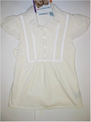 L(10/12)  Mary-Kate and Ashley lace and pin off white tuckblouse