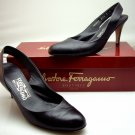 Salvatore Ferragamo Black Leather Sling Back Patent Heels Size 8 B Italy