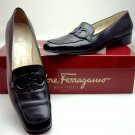 Salvatore Ferragamo Black All Leather Logo Loafers 7.5 4A Narrow Italy