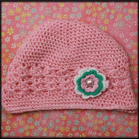 Pink Crochet Beanie w/ Crochet Flower Clip