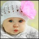 White Crochet Beanie with Pink Rhinestone Flower Clip