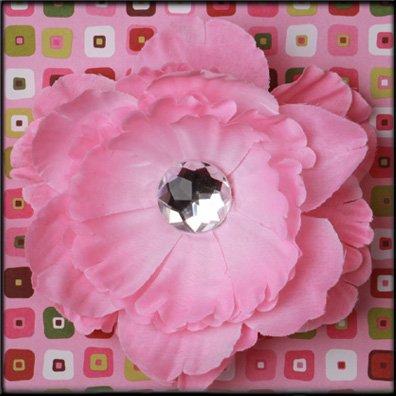 Pink Rhinestone Center Peony Flower Clip