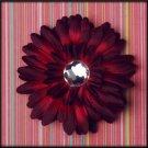 Burgundy Rhinestone Gerbera Daisy Clip