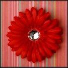 Red Rhinestone Gerbera Daisy Clip