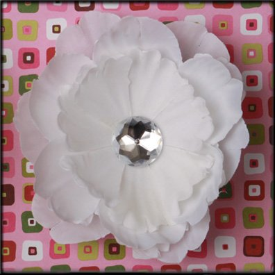 White Rhinestone Center Peony Flower Clip