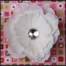 White Rhinestone Center Peony Flower Clip