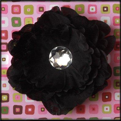 Black Rhinestone Center Peony Flower Clip