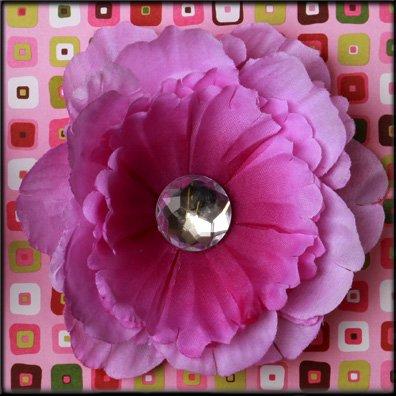 Violet Rhinestone Center Peony Flower Clip