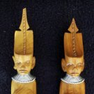 Vintage African Wood Hand Carved Salad Servers Handcrafted Art Figures circa 1960