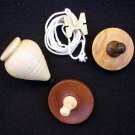 Hard Wood Hand Crafted Toy Tops, One With String Winder