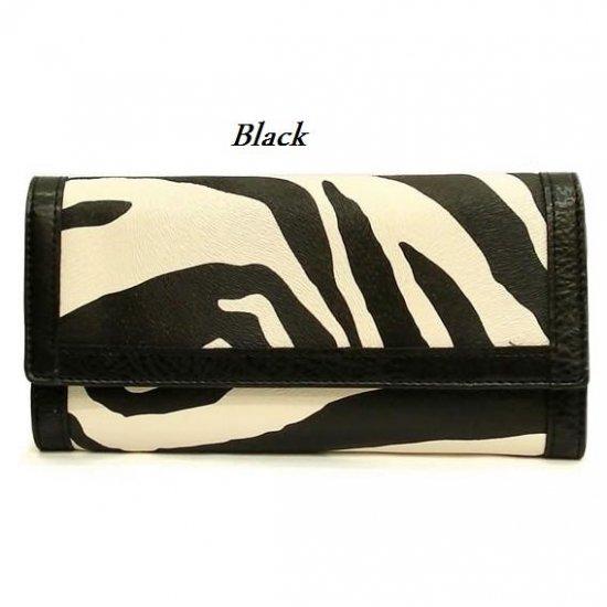 Zebra Print Women's Wallet, Black (120AW89)