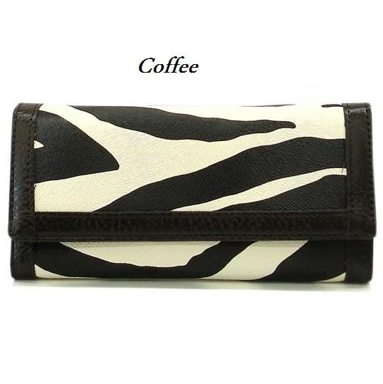 Zebra Print Women's Wallet, Coffee (120AW89)