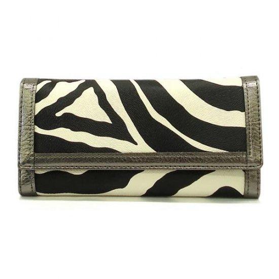 Zebra Print Women's Wallet, Silver (120AW89)