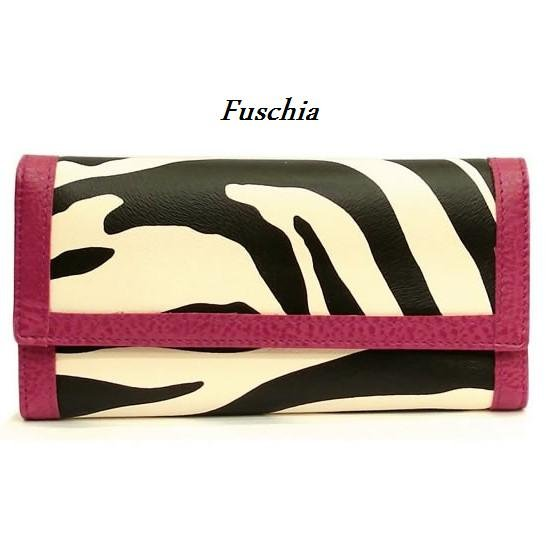 Zebra Print Women's Wallet, Fuschia (120AW89)