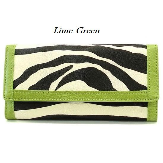 Zebra Print Women's Wallet, Green (120AW89)