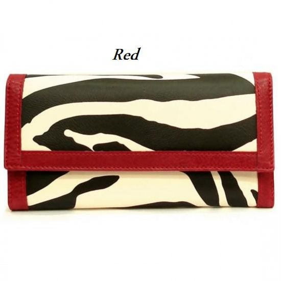 Zebra Print Women's Wallet, Red (120AW89)