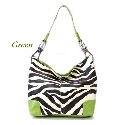 Zebra Print Women's Handbag Purse, Green (120-3179)