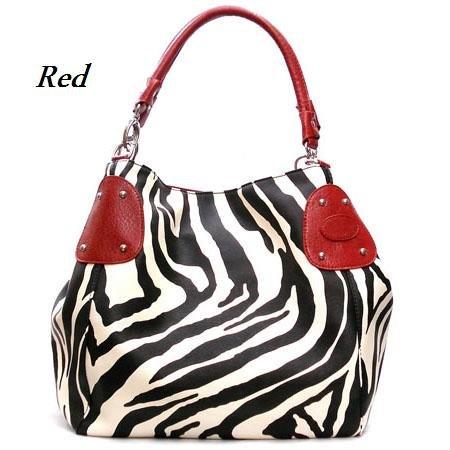 Zebra Print Women's Handbag Purse, Red (120-2016)
