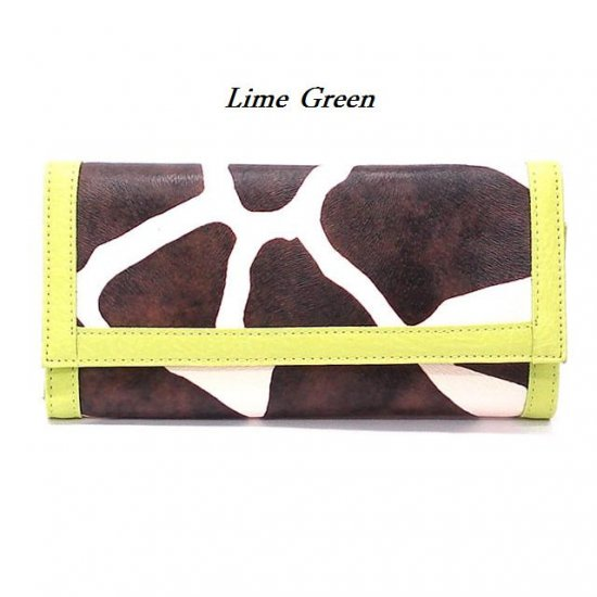 Giraffe Print Women's Wallet, Lime Green (122AW89)