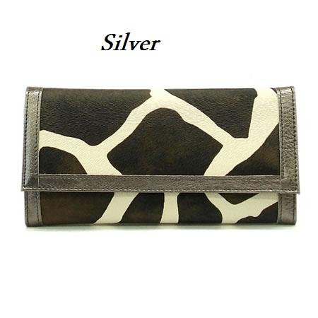 Giraffe Print Women's Wallet, Silver (122AW89)