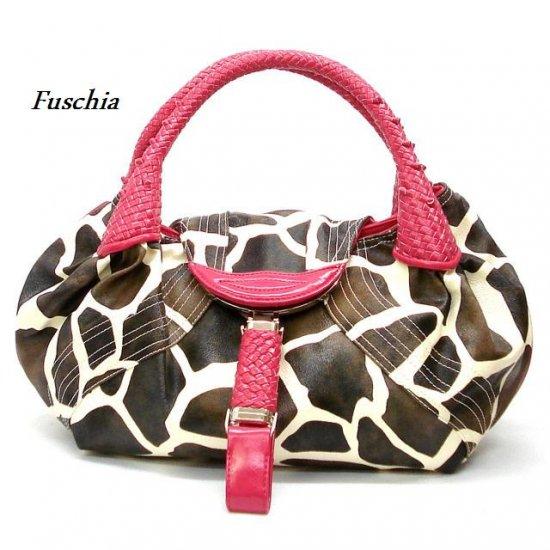 Giraffe Print Women's Spy Handbag Purse, Fuschia (122-67)