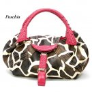 Giraffe Print Women's Spy Handbag Purse, Fuschia (122-67)