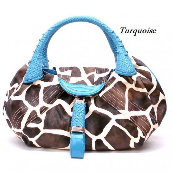 Giraffe Print Women's Spy Handbag Purse, Turquoise (122-67)