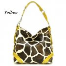 Giraffe Print Women's Carly Handbag Purse, Yellow (122-5028)