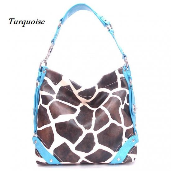 Giraffe Print Women's Carly Handbag Purse, Turquoise (122-5028)