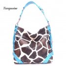 Giraffe Print Women's Carly Handbag Purse, Turquoise (122-5028)
