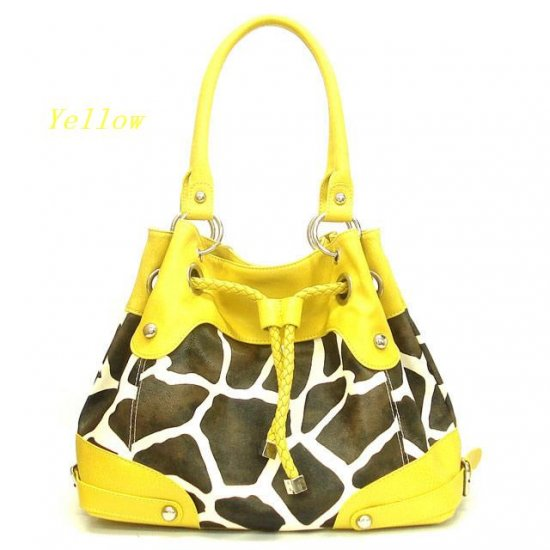 Giraffe Print Drawstring Handbag Purse, Yellow (122-2930)