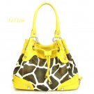 Giraffe Print Drawstring Handbag Purse, Yellow (122-2930)