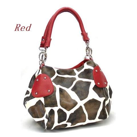 Giraffe Print Women's Handbag Purse, Red (122-2018)