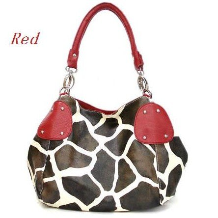 Giraffe Print Women's Handbag Purse, Red (122-2017)