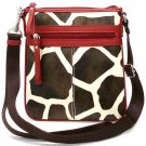 Giraffe Print Messsenger Style Handbag Purse, Red (122-1891)