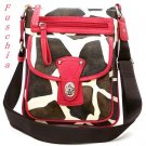 Giraffe Print Messsenger Style Handbag Purse, Fuschia (122-1167)