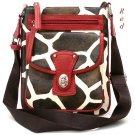Giraffe Print Messsenger Style Handbag Purse, Red (122-1167)