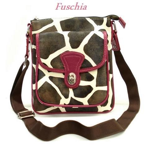 Giraffe Print Messsenger Style Handbag Purse, Fuschia (122-1166)