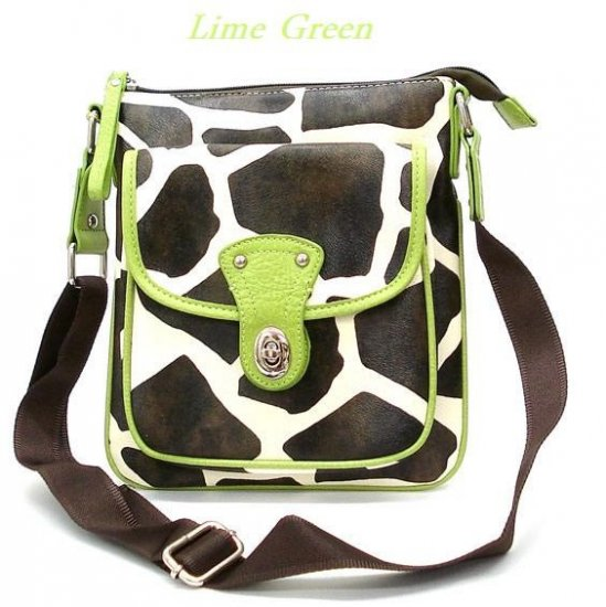 Giraffe Print Messsenger Style Handbag Purse, Green (122-1166)