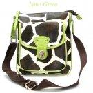 Giraffe Print Messsenger Style Handbag Purse, Green (122-1166)