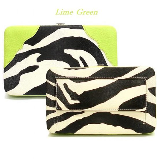 Zebra Print Women's Frame Wallet, Green (120AW135)
