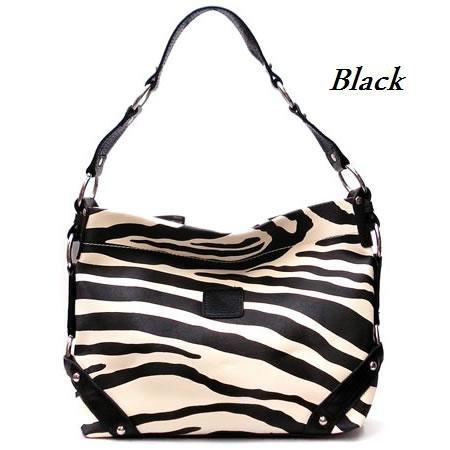 Zebra Print Women's Carly Handbag Purse, Black (120-5028)