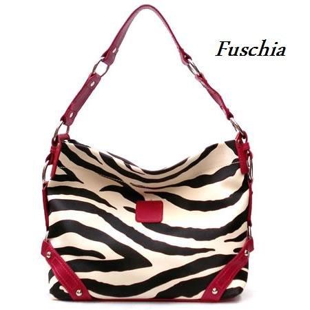 Zebra Print Women's Carly Handbag Purse, Fuschia (120-5028)