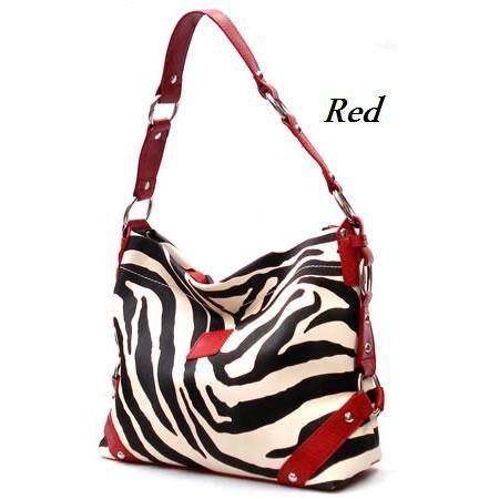 Zebra Print Women's Carly Handbag Purse, Red (120-5028)