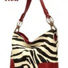 Zebra Print Fish Hook Handbag Purse, Red (120-3180)